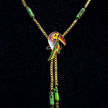 colorful toucan & green turquoise stone beads // necklace with unique gold toned Venice chain // nickel free