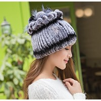 Winter Beanies Fur Hat For Women Knitted Rex Rabbit Fur Hat With Fox Fur Flower Top Casual Hats