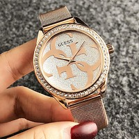 GUESS New Fashion Dial Letter Diamond Round Shell Personality Leisure Watch Wristwatch