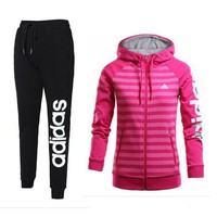 ADIDAS Women Hooded Cardigan Jacket Coat Pants Trousers Set Two-Piece Sportswear