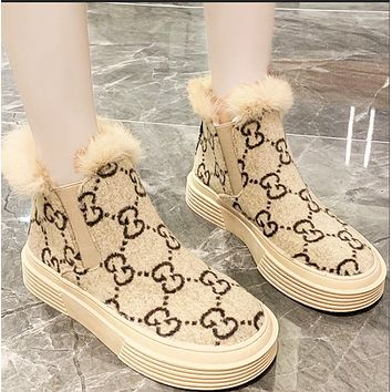 Winter new style fur and cotton thick-soled thin snow boots shoes