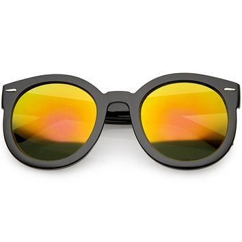 Round Retro Oversized Sunglasses for Women with Colored Mirror and Neutral Lens C687