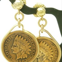 Indian Head Penny Coin Earrings 14 kt Gold Filled Mint Dates 1903 1906