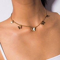 Fashion Choker Necklace Lovely Golden Silver Plated Butterfly Necklace Short Women Holiday Romantic Gift Jewelry
