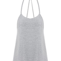 Open Back Cami Top In Grey