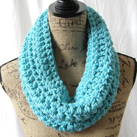 Ready To Ship Turquoise Cowl Scarf Fall Winter Women's Accessory Infinity