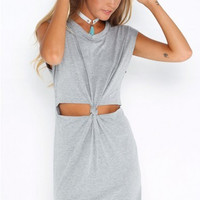 Short Sleeve Tee Summer One Piece Dress = 4816933124