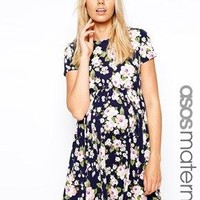 ASOS Maternity Skater Dress In Floral With Short Sleeve - Multi