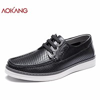 Summer Men Shoes leather genuine casual dress shoes round pointed shoes breathable hollow men shoes