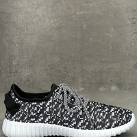 Creative Kick Black and White Knit Sneakers
