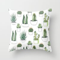 watercolour cacti and succulent Throw Pillow by Vicky Webb