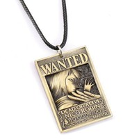 One Piece Wanted Poster Robin Metal Alloy Necklace