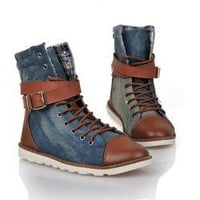 Casual Men's Jean Boots With Splicing Buckle and Lace-Up Design