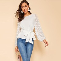 Appliques Lantern Sleeve Belted White Blouse Women Tops Elegant Long Sleeve Round Neck Solid Tops and Blouses