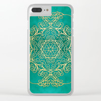 Turquoise & Gold Mandala Clear iPhone Case by Tanyadraws