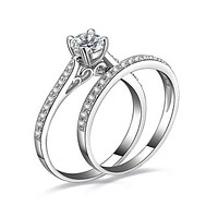 2Pcs Set Women Engagement Wedding Cubic Zirconia Silver Plated Rings