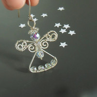 White Christmas angel ornament, transparent handmade pendant, silver plated wire wrapped jewelry
