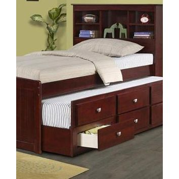 Joshua Children's Bed with Bookcase Headboard, Storage Drawers, and Trundle