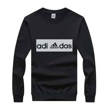 ADIDAS winter new tide brand loose hooded men's round neck sweater Black