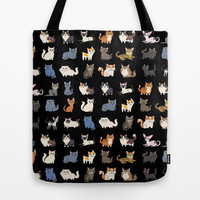 CATS on black Tote Bag by DoggieDrawings