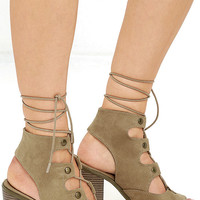 Terms and Conditions Natural Suede Lace-Up Booties