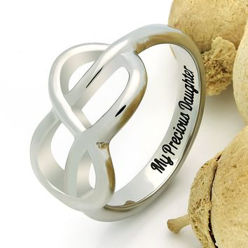 "Infinity Ring For Daughter, Double Infinity Ring, Purity Ring ""My Precious Daughter"" Engraved on Inside Best Gift for Mother Daughter Forever"