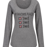 My Favorite Places Long Sleeve Tee - Gray