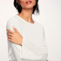 In Your Arms White Covered Button Long Sleeve Top