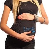 Fitness Maternity T-Shirt Love with Baby Feet in Heart Black