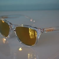 Oakley Frogskins Crystal Collection Sunglasses OO9013-A4 Polished Clear/24k NEW
