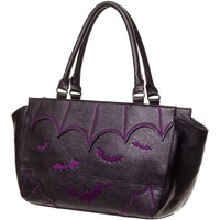 Gothic Bat Love Vamp Gotham Knight Bats Attack Handbag - Purple