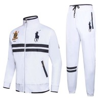 Polo Ralph Lauren autumn and winter new men's windproof ball suit casual suit two-piece White