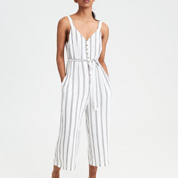 AE Striped Button-Front Culotte Jumpsuit, White