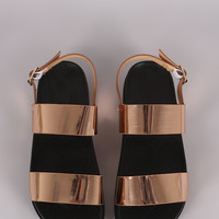 Metallic Double Straps Footbed Slingback Sandal