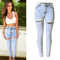 White High Waist Hole Design Trousers