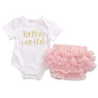 pudcoco Newborn 3 PCS Baby Girl Hello World Romper Jumpsuit + Shorts Pants Outfits Pink