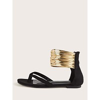 Toe Post Metallic Multi-strap Sandals
