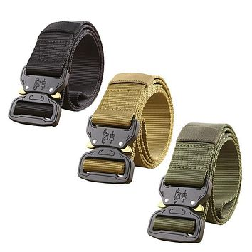 Military Equipment Army Tactical Belt Men Thicken Metal Buckle Sturdy Nylon Belt Combat Belts