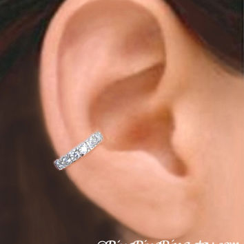 CZ silver ear cuff - 925 Sterling Band with Cubic Zirconia earcuff for men and women 080112
