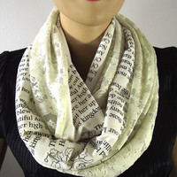 Edgar Allan Poe Love Poem Infinity Scarf - Annabel Lee - Book Text and Lace Vintage look Scarf Handprinted Lace Cowl