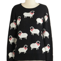 ModCloth Quirky Mid-length Long Sleeve I Got Ewe, Babe Sweater