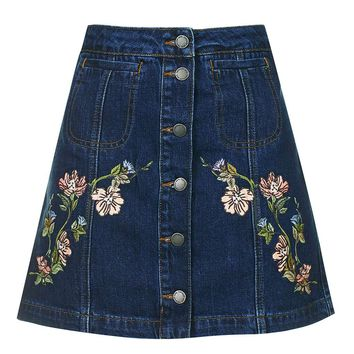MOTO Floral Embroidered Skirt - Topshop