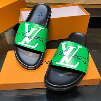 Hipgirls Louis Vuitton LV hot new couple printed casual slippers