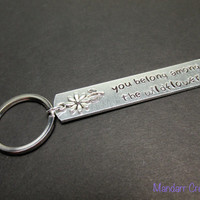 Keychains for Hers, You Belong Among the Wildflowers, Hand Stamped Aluminum Key Chain with Daisy Charm
