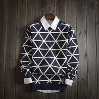 Mens Triangle Warm Slim Fit Soft Comfortable Sweater