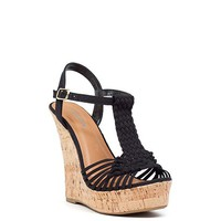 Crushing on You 5 Black Woven Canvas Ankle Strap Cork Platform Wedges