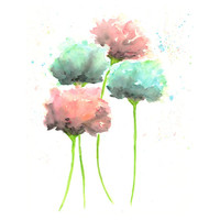 Watercolor painting, watercolor poppies, flower art, flower painting, mint green, coral, abstract flowers, floral, original painting - 8X10