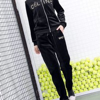 """Celine"" Women Casual Fashion Velvet Letter Embroidery Hooded Long Sleeve  Trousers Set Two-Piece Sportswear"