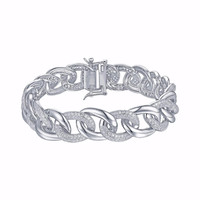 Miami Cuban Link Bracelet White Gold Over 925 Silver