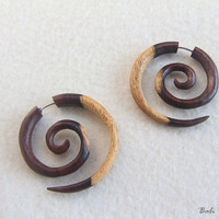 Tribal Fake Gauge Wood Earring, Spiral Fake Taper Earrings, Spiral Wooden Earring